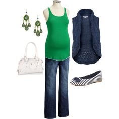 Green and Navy Maternity Outfit, created by kathryndeane on Polyvore