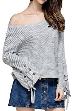 a39d5f8847 Womens Flare Sleeve Loose Knit Solid Pullover Sweater Jumpers   More info  could be found at the image url. (This is an affiliate link)