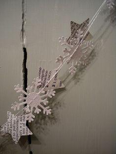 bookpage stars and white snowflake garland