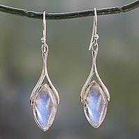Rainbow moonstone dangle earrings, 'Wishbone' - Dangle Earrings Hand Crafted with Rainbow Moonstone