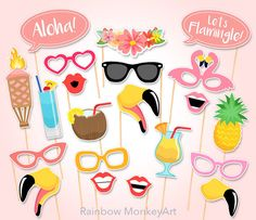 Printable Flamingo Party Photo Booth Props by RainbowMonkeyArt
