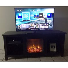 Wildon Home TV Stand with Electric Fireplace & Reviews