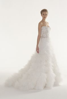 """""""Euphoria"""" strapless embroidered tulle and organza ball gown wedding dress with a sweetheart neckline, crystal flower details, and full skirt made of layered tulle folds, Langner Couture"""