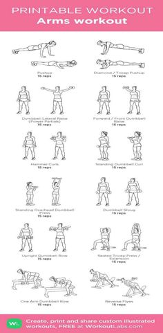 Printable Arm Workout  Find more Arm Workouts at http://www.alesstoxiclife.com/fitness/10-super-workouts-tone-arms-home/ #healthtip