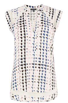 Clothing | Pink Geo Print Mesh Insert Top | Warehouse