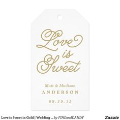 Love is Sweet in Gold | Wedding Gift Tags Pack Of Gift Tags