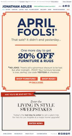 Jonathan Adler April Fool S Day Email 2017 Holiday Emails Design Inspiration Campaign