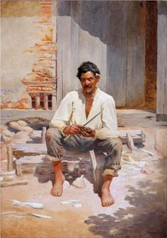 Caipira Chopping Tobacco (Sketch) - Jose Ferraz de Almeida Junior -  1893