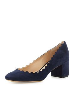 ChloÉ Women's Lauren Scalloped Block-heel Pumps In Blue Navy Pumps, Pumps Heels, Ballerina Pumps, Chloe Shoes, Designer Heels, Blue Lagoon, Platform Pumps, What I Wore, Block Heels