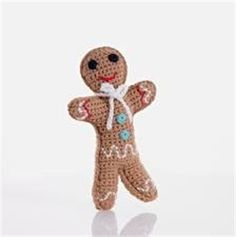 Pebble Fair Trade Cotton Crochet Gingerbread Man Rattle How cute is this little guy? Pebble fair trade and hand made cotton crochet gingerbread man rattle. Machine washable and suitable from birth. As with all Pebble products tested to EN71 and CE. 100% cotton with 100% polyester fill.