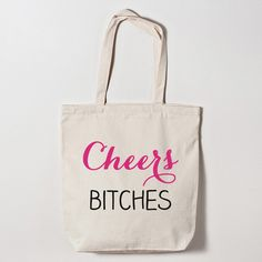 Cheers to your bachelorette party! These printed canvas bags are perfect for your bachelorette girls to carry all of their necessities in. Hot Pink Vegas-style