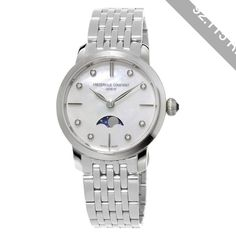 Frédérique Constant Women's Mother Of Pearl Dial Moon-Phase Watch , Silver