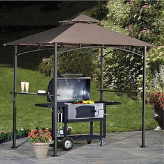 Enjoy cooking outdoors under the cool shade with the Argon Grill Gazebo. This convenient gazebo sets up in minutes and contains two shelves on either side to rest accessories, utensils, drinks and more!