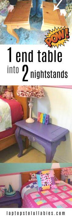Turn one end table into TWO nightstands {Heather's Handmade Life} #DIY #Tutorial #nightstand #bedroom