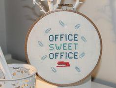 'Office Sweet Office' Cross Stitch Art