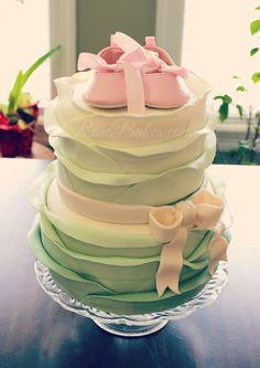Vintage Pink & Sage Ruffles Baby Shower Cake. Click over to see all the pictures from this beautiful baby shower and decor.