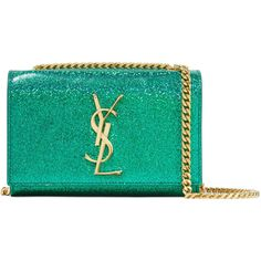 Saint Laurent Monogramme Kate small glittered leather shoulder bag ($1,365) ❤ liked on Polyvore featuring bags, handbags, shoulder bags, green leather purse, cell phone purse, green leather handbag, leather purses and genuine leather handbags