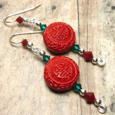 Red Cinnabar and Swarovski Red and Green Crystal .925 Dangle Earrings | KatsAllThat - Jewelry on ArtFire