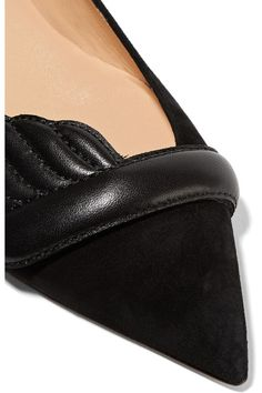 Christian Louboutin - Miss Mars Suede And Leather Point-toe Flats - Black - IT35.5