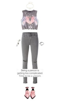 """Time to be a unicorn"" by s0f1a ❤ liked on Polyvore featuring Forever 21, Marques'Almeida, J Brand, Design Lab, Lizzy James, Topshop, Pink, croptop, jeans and grey"