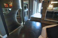 Jeff Click homes- love the concrete floors with the dark and matte finish