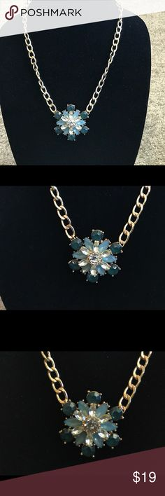 """Teal and Aqua Crystal Flower Pendant Necklace Gold tone 20.5"""" long necklace with flower pendant Jewelry Necklaces"""