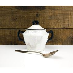 White Lusterware Sugar Bowl with Black trim Czechoslovakia (€16) ❤ liked on Polyvore featuring home, kitchen & dining, serveware, white serveware and white sugar bowl