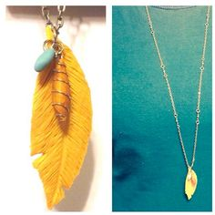 Handmade from Polymer Clay Feather Necklace and Handmade beads on Etsy, $17.00