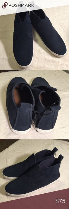 NWOT Dolce Vita Xai Suede High-top Sneaker, Navy Killer suede sneakers: slip on, thick leather, some scuffs on soles, line through label, pictured. W/o box.  Great shoes! Navy or Gray DV by Dolce Vita Shoes Sneakers