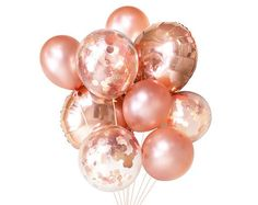 Rose Gold Balloons ( Balloon Bouquet Bundle with Confetti Balloons ) - Copper Fall / Autumn Wedding Decor Ideas