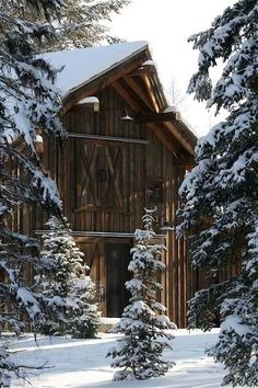 Barn in the snow