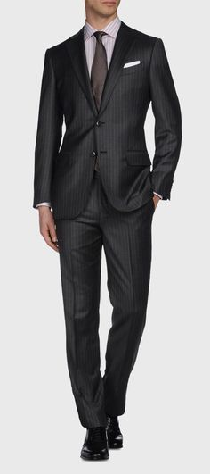 ERMENEGILDO ZEGNA: Suit Cool wool 2 buttons Dual back vents Thr Black, Detail 5 - 49118159AB Always Aim2Win!