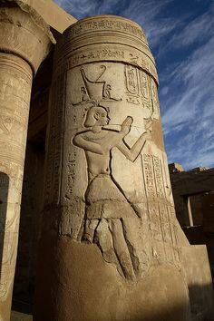 Egypt, Kom Ombo, Pillar