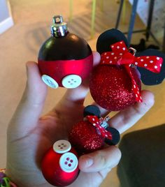 Homemade Mickey and Minnie Ornaments by Delightfully Disney