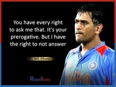 Best MS Dhoni's Quotes about life, success, country and leadership. He's also a fine thinker, talker. Apj Quotes, Best Quotes, Motivational Quotes, Life Quotes, Inspirational Quotes, 2011 Cricket World Cup, Dhoni Quotes, Ms Dhoni Photos, Brain Illustration