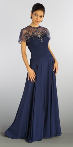 Full Length Mother of Groom Chiffon Dress Navy Blue Beaded Poncho