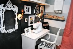 IHeart Organizing: Reader Space: Sew Amazing Office/Craft Zone!---White on black...pretty cool : )