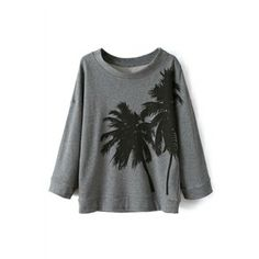 Coco Tree Print Grey Sweatshirt   pariscoming