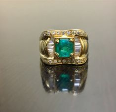 Emerald Wedding Rings, Emerald Ring Gold, Yellow Gold Rings, Diamond Engagement Rings, Emerald Cut, Art Deco Diamond, Art Deco Jewelry, Unique Rings, Rings For Men
