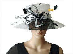 White black sinamay hat church hat for Kentucky by QESC on Etsy