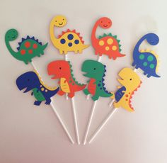 12 Dinosaur Cupcake Toppers Dinosaur Party Decor by EandABabyShop