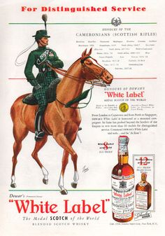 1938 Vintage White Label Scotch Whiskey Horse Print Ad   eBay. Very nice cross of military and scotch advertising!
