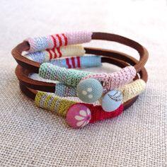 Leather & crochet cotton striped friendship bracelet por kjoo