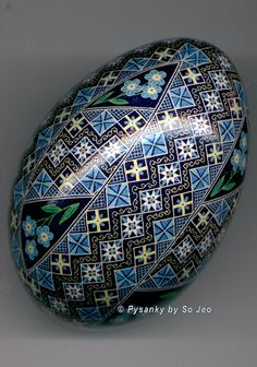 Forget Me Nots Turkey Pysanka by So Jeo Side 3a