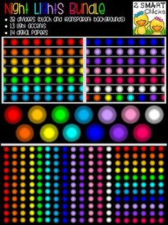 Add some flare to your products with our Night Lights Bundle! 55 vibrant PNG file images are included in this set (28 dividers, 14 digital papers and 13 accents)! Once purchased, this bundle can be used for personal or commercial purposes. Kindly remember to include a link back to our TPT store: http://www.teacherspayteachers.com/Store/2-Smart-ChicksHappy creating!