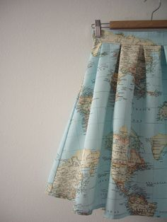 World Map Skirt Map Printed High Waisted Skirt Atlas by CruelCandy