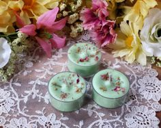 Tea lights made with soy wax  Bergamot Geranium & by ApamateScents