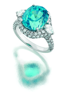 Platinum ring with a 12.42ct blue zircon and 1.50cts in diamonds  From $19800.00