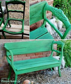 Turn two old chairs into a nice bench CooleTipps. - Make a beautiful bench out of two old chairs CooleTipps.de – Do you have two old chairs and are c - Furniture Projects, Furniture Makeover, Garden Furniture, Home Projects, Diy Furniture, Chair Makeover, Street Furniture, Furniture Design, Couches