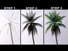 Tree Painting Easy, Tree Watercolor Painting, Garden Painting, Palm Tree Drawing Easy, Acrylic Painting Lessons, Simple Acrylic Paintings, Acrylic Painting Tutorials, Painting Tips, Painting Art
